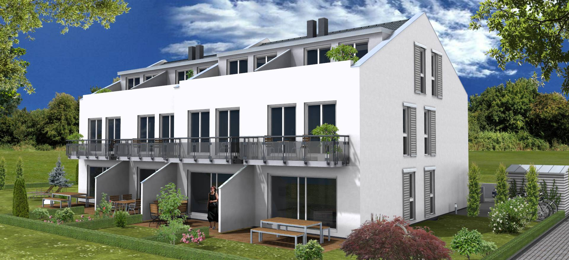 Gartenseite mit Terrasse, Balkon und Dachterrasse Suedansicht