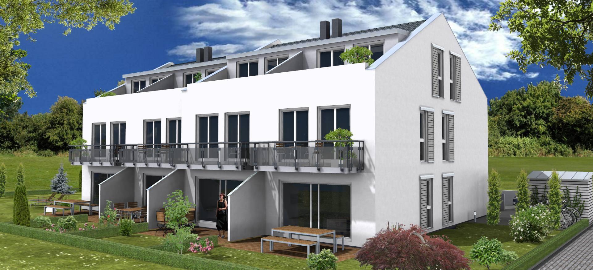 Gartenseite mit Terrasse, Balkon und Dachterrasse Südansicht