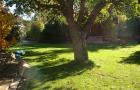 Garten mit Blockhütte