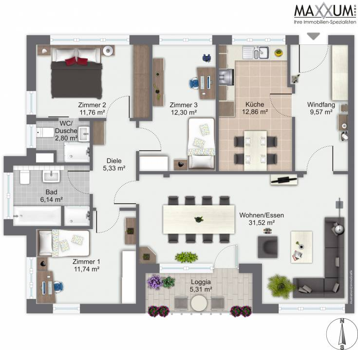 maxxum ihre immobilien spezialisten neubau in gilching 4 zimmer wohnung w06 im 2 og. Black Bedroom Furniture Sets. Home Design Ideas