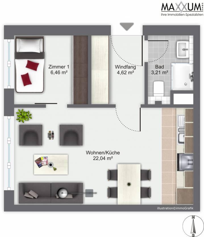 maxxum ihre immobilien spezialisten neubau in gilching 2 zimmer wohnung w09 im 2 og. Black Bedroom Furniture Sets. Home Design Ideas